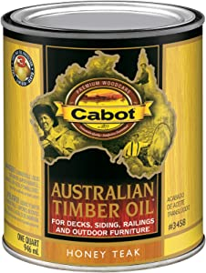 Cabot 140.0003458.005 Australian Timber Oil Stain, Quart, Honey Teak