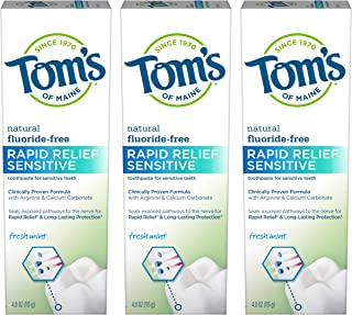 product image for Tom's of Maine Fluoride-Free Rapid Relief Sensitive Toothpaste, Fresh Mint, 4 oz. 3-Pack