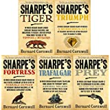 Bernard cornwell the sharpe series 1 to 5 books collection set (tiger, triumph, fortress, trafalgar, prey)