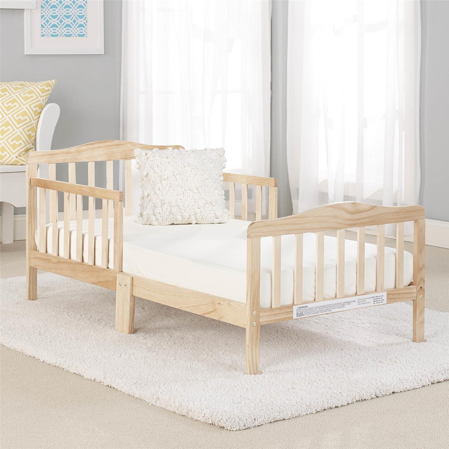 Big Oshi Contemporary Design Toddler & Kids Bed - Sturdy Wooden Frame for Extra Safety - Modern Slat Design - Great for Boys and Girls - Full Bed Frame With Headboard, in Natural