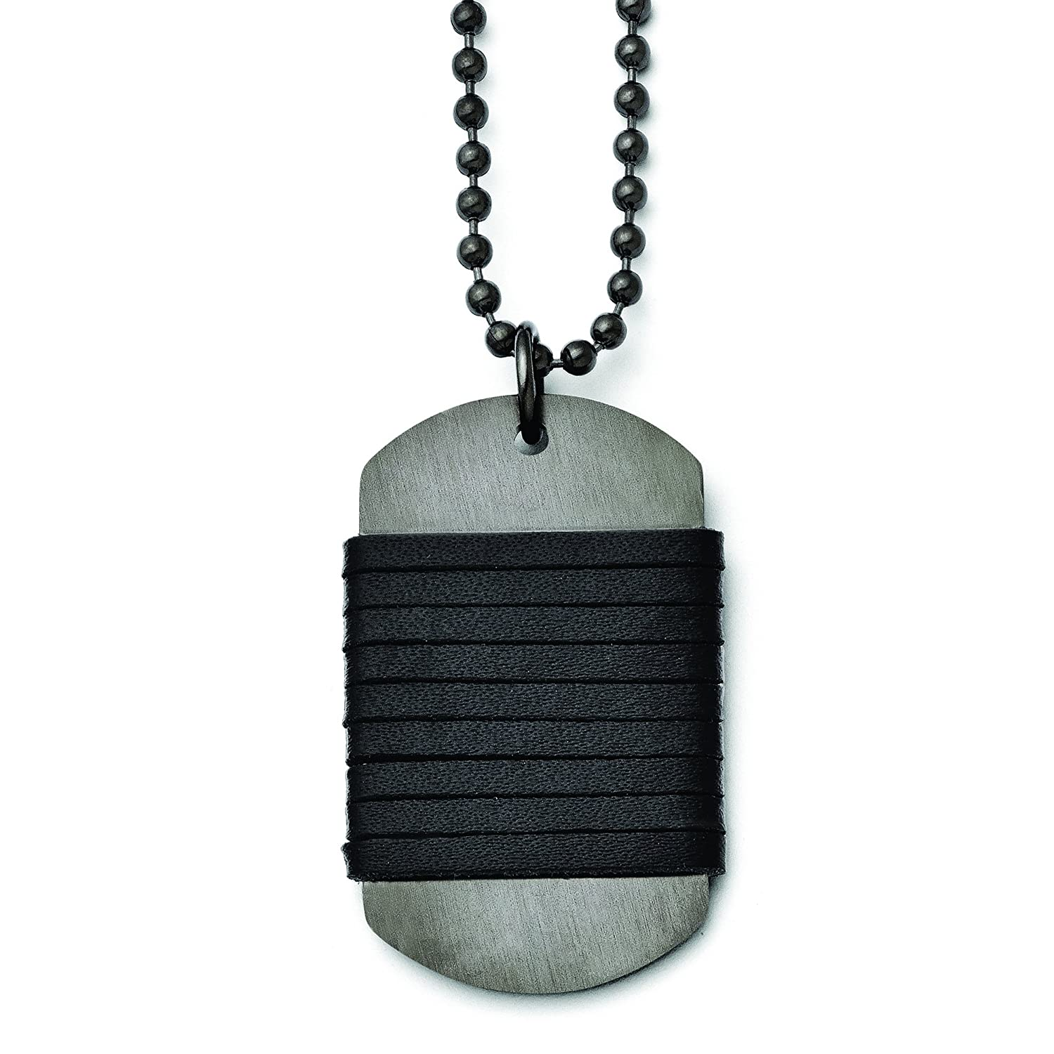 Shop4Silver Stainless Steel Brushed Dog Tag Wrapped Leather Necklace