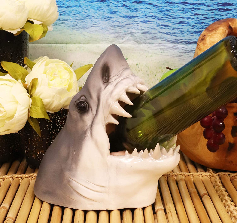 "Ebros Deep Ocean Marine Prehistoric Megalodon Shark Baring Jaws and Teeth Wine Holder Statue 9"" Tall Nautical Coastal Sea Bottle Storage Caddy Figurine"