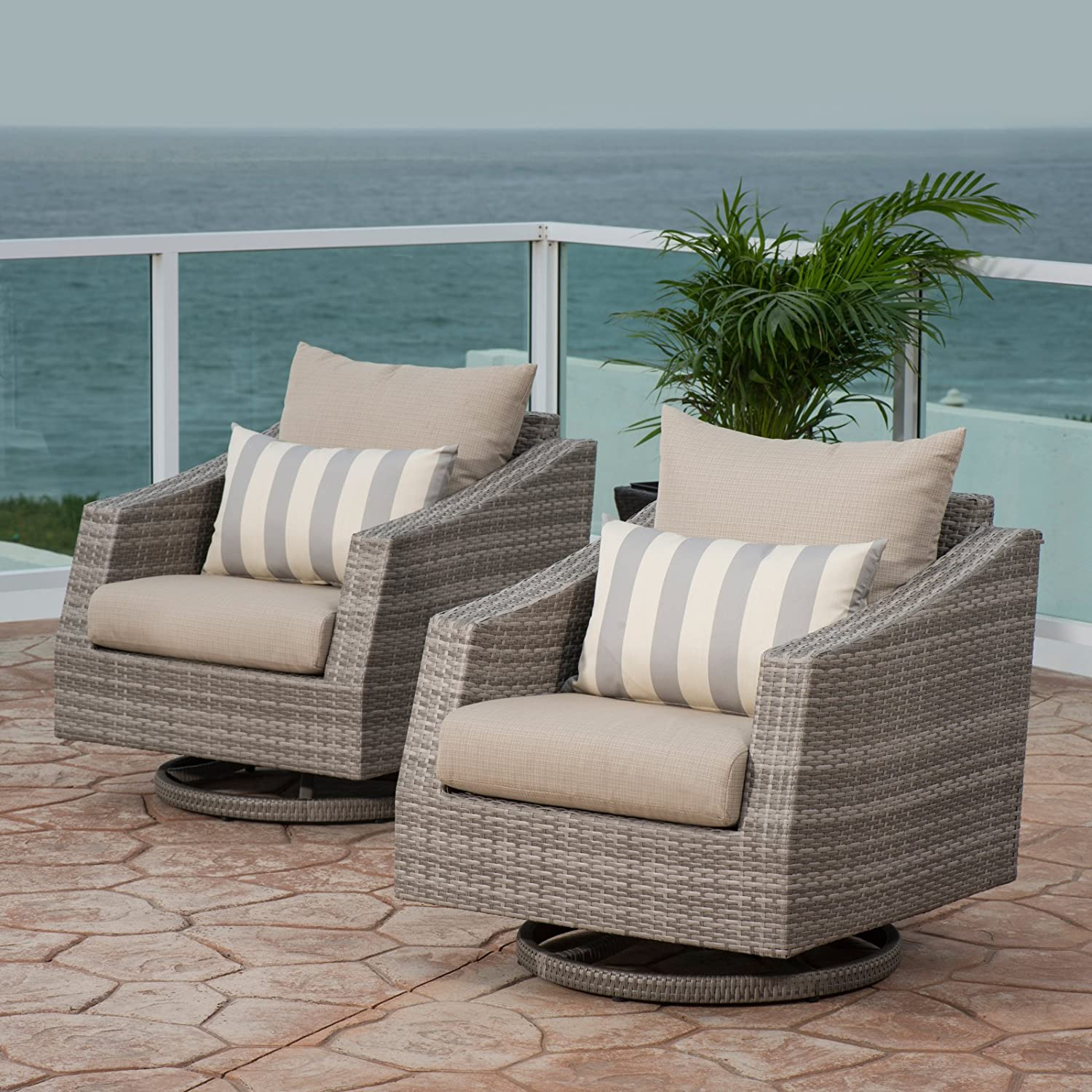 Amazon com rst cannes wicker motion patio club chairs set of 2 garden outdoor