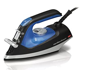 Hamilton Beach 2-in-1 Nonstick Iron & Garment Steamer (14525), Blue/Black