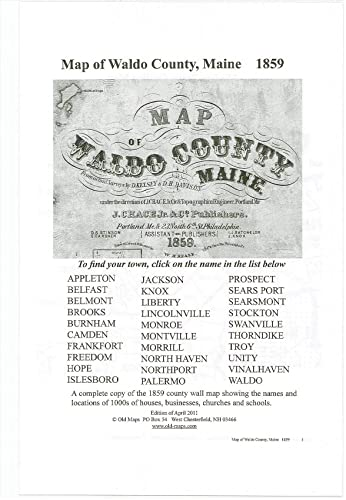 Amazon Com Map Of Waldo County Maine 1859 Printout Of Old Maps