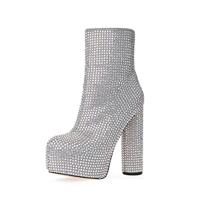 Stupmary Women's Ankle Boots Round Toe Rhinestone Crystal Platform Mid-Calf Bootie Cylinder Block High Heeled | Mid-Calf