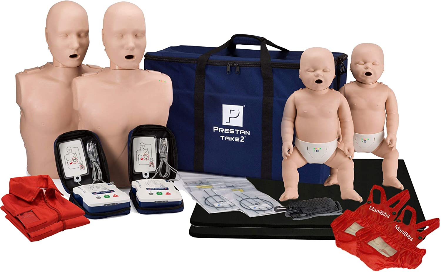 Prestan Take2 CPR Manikin & UltraTrainer Kit with Feedback (2-Adult, 2-Infant, & 2-UltraTrainers) and MCR Medical Accessories