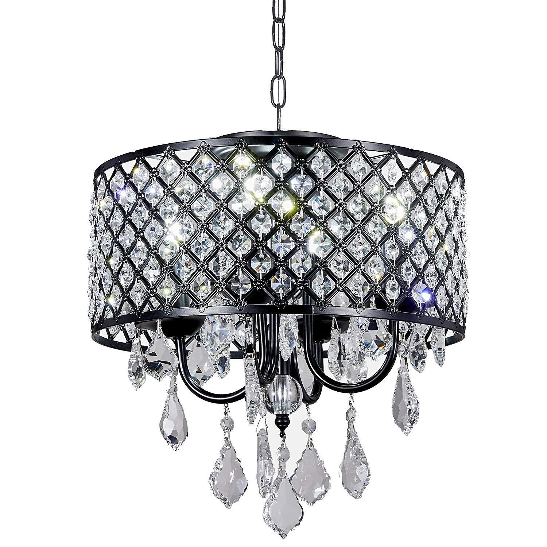 Diamond Life 4-Light Antique Black Round Metal Shade Crystal Chandelier Pendant Hanging Ceiling Fixture