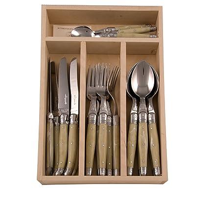 Laguiole - Cubertera de acero inoxidable y plstico ABS en caja de madera, 24 piezas