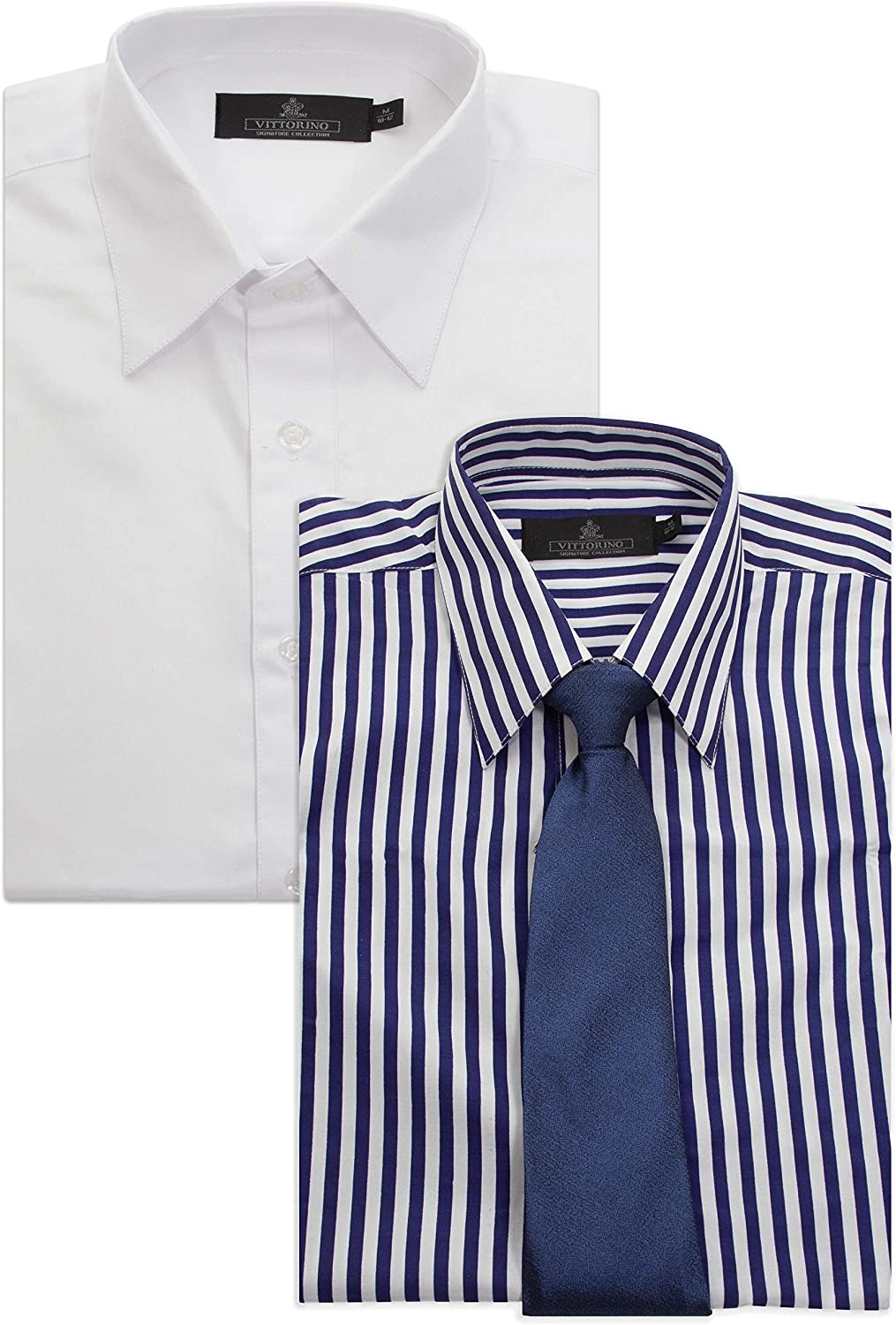 Vittorino Boys Value Pack 2 Long Sleeve Dress Shirts and Matching Tie Awesome Value!