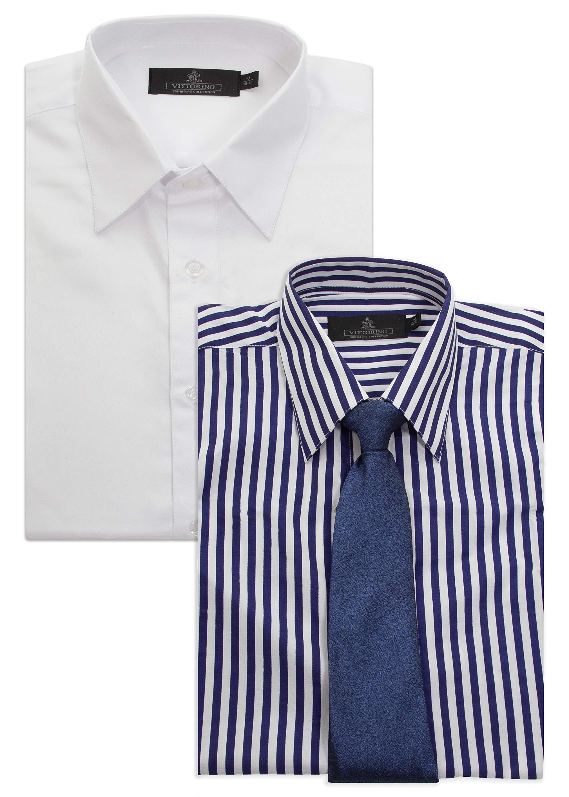 Vittorino Boys' Value Pack 2 Long Sleeve Dress Shirts and Matching Tie Awesome Value, Blue White, 14/16