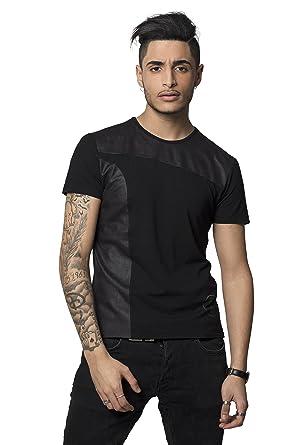 Noir Homme Angel Von Cuir Shirt Courtes Manches T 100Made 6yYIgf7bv