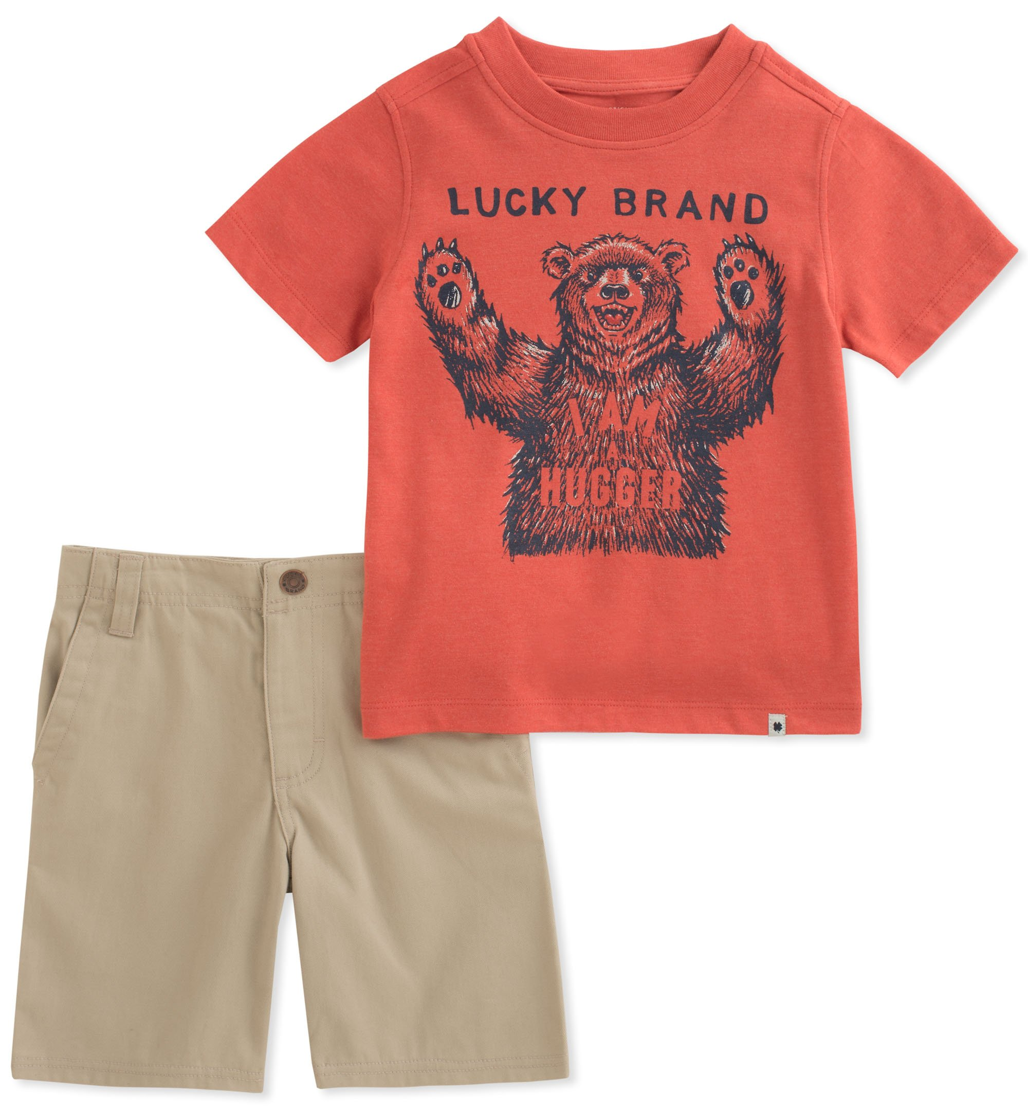Lucky Brand Boys' Shorts Set, Heather Red, 2T
