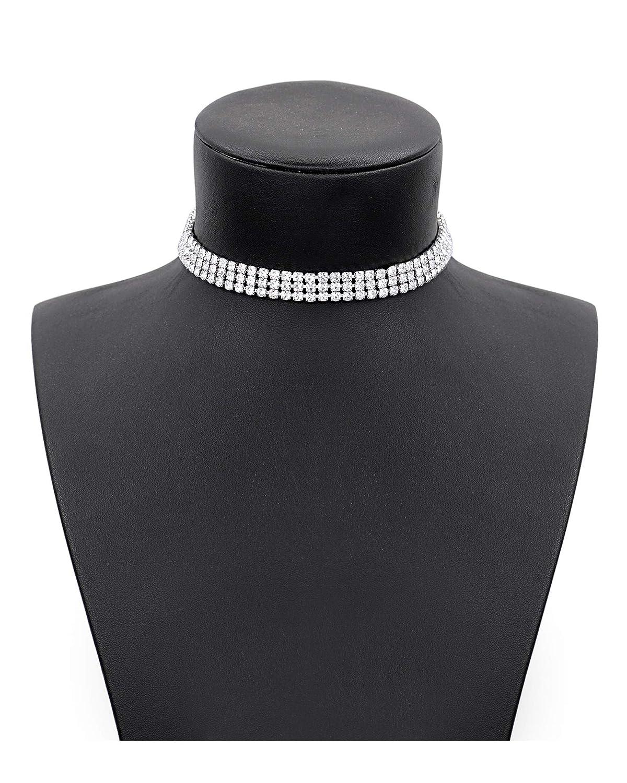 Zealmer Daycindy 3 Rows Clear Rhinestone Choker Necklace for Women ChanYun JZZ-127-77-008