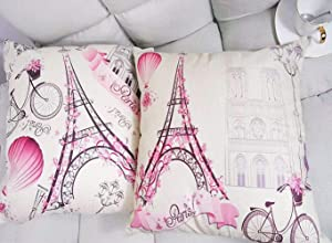 Unibedding Paris Eiffel Throw Pillow Covers Decorative Lover Theme Romantic Girls Room Cushion Covers Fall Decoration Christmas Holiday Decor, 2 Pack Pink
