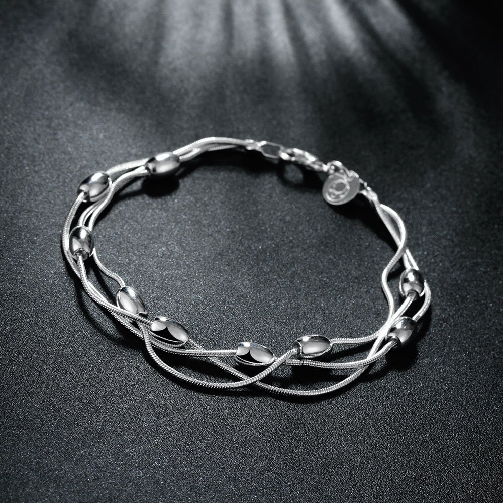 TPHui Fashion Lady Girl Plating Silver Heart bracelet Twisted rope bracelet Three-line bead bracelet
