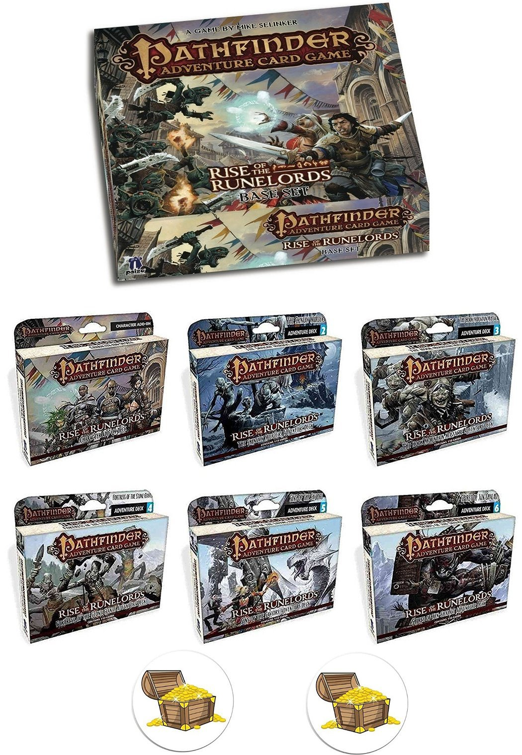 BUNDLE of Pathfinder Adventure Card Game Base Game Plus All 6 Rise of the Runelords Expansion Decks and 2 Treasure Chest Buttons