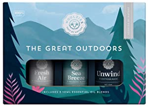 Woolzies The Great Outdoors Essential Oil Collection   Includes Fresh Air, Sea Breeze & Unwind   Fresh, Sharp, Clean Scent   Aromatherapy Therapeutic Grade Oil   For Diffuse & Topical Use   10 ML
