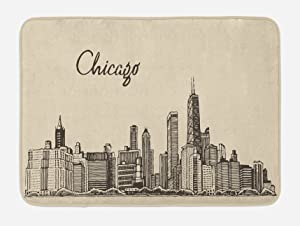 "Ambesonne Chicago Skyline Bath Mat, Vintage Style Urban Silhouette Country Culture Architecture Capital, Plush Bathroom Decor Mat with Non Slip Backing, 29.5"" X 17.5"", Brown Beige"