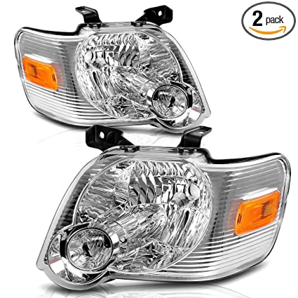 For 2006 2010 Ford Explorer Headlight Replacement Chrome Housing With Amber Reflector Driver And Passenger Side