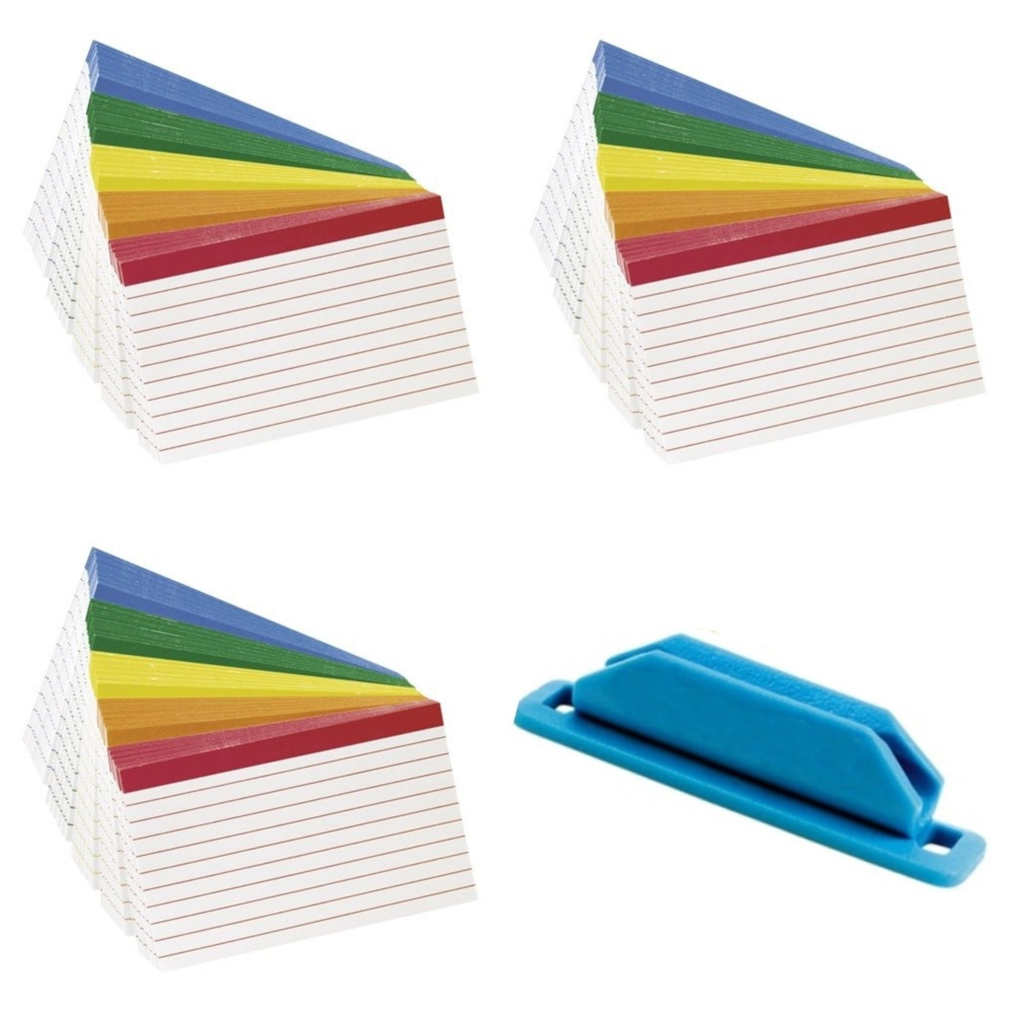 Esselte Corporation Oxford Color Coded Index Cards, 4x6 Inches, Pack of 100 (3 Pack) Bundle with Rubber Pen/Pencil Holder