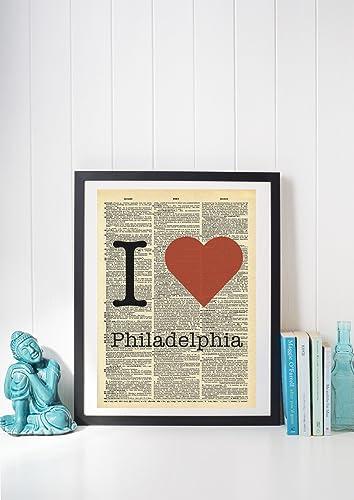 Amazon.com: I Heart Philadelphia Vintage Dictionary Print 8x10 inch ...