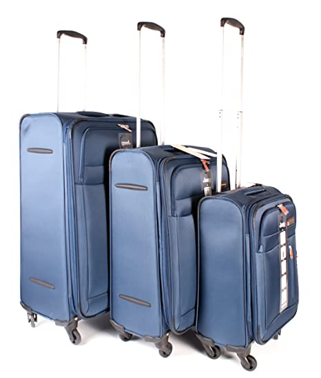 9a335b6947 Dark Blue Jeep Fuji Super Light - Polyester Water Resistant 4 Wheeled  Luggage Set of 3 - Navy Blue: Amazon.co.uk: Luggage