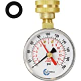 CARBO Instruments 2- 1/2' Pressure Gauge,Water Pressure Test Gauge, 3/4' Female Hose Thread, 0-200 PSI with Red Pointer