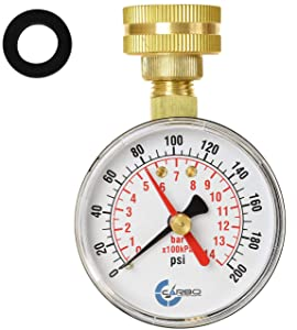 "CARBO Instruments 2-1/2"" Pressure Gauge,Water Pressure Test Gauge, 3/4"" Female Hose Thread, 0-200 PSI with Red Pointer"