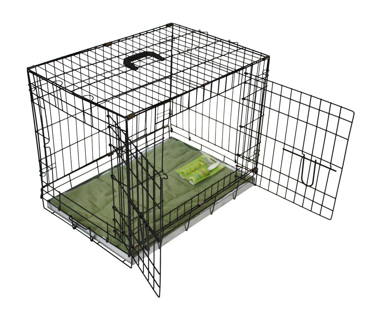 BUNNY BUSINESS Enclos pour chien en métal 2 portes avec coussin et brosse adhésive pour textile Noir Modèle XXL 122cm BB-DC-1002XXL-BL