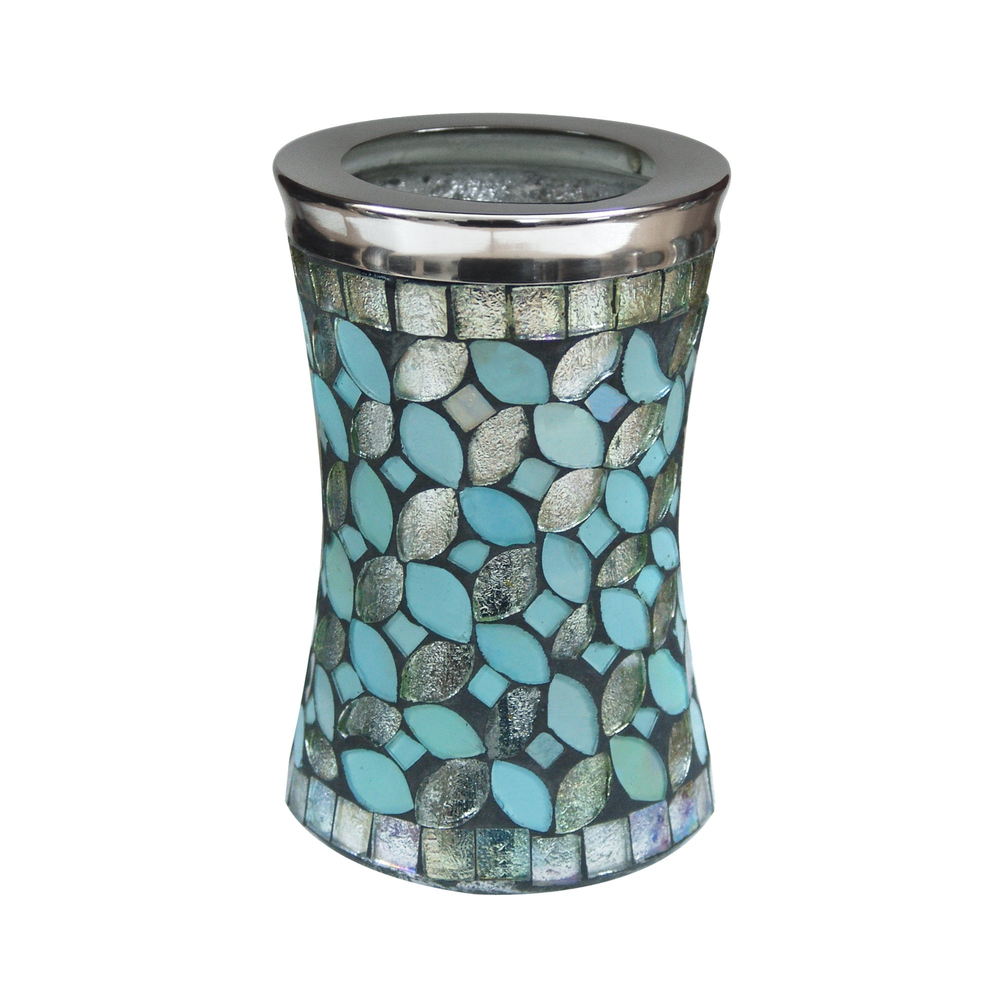 nu steel SF5H Sea Foam Collection Tumbler Cup, Holder for Makeup, Toothbrushes, Brushes On Bathroom, Vanity Countertops, College Dorm, Glass Mosaic with Aqua Finish by nu steel