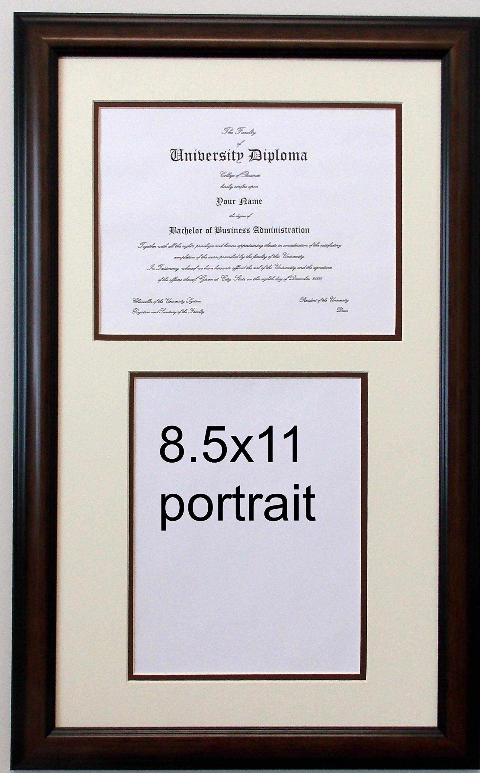 Double Diploma Reverse Document Certificate Openings Wood Picture Frame for Two 8.5x11 one Landscape and one Portrait