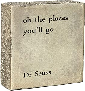 oh the Places You'll Go Desk Box Sign 3.9 x 3.9-Inches,Home and Wall Farmhouse Decor