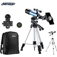Aomekie Telescopio Astronómico Telescopios Niños con Adaptador de Teléfono 10X Mochila Buscador de Trípode Ajustable Filtro de Luna y Lente Barlow 3X