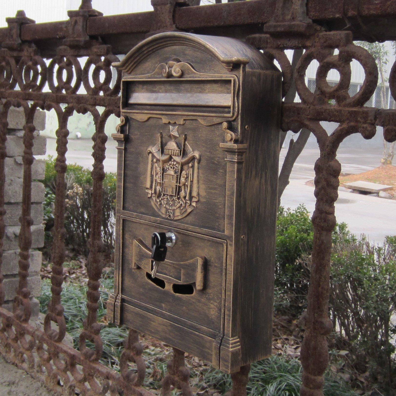 Traditional Aristocratic, Sun Identity Villa Cast Aluminum Mailboxes 49 Colors Available (02 Antique Bronze)