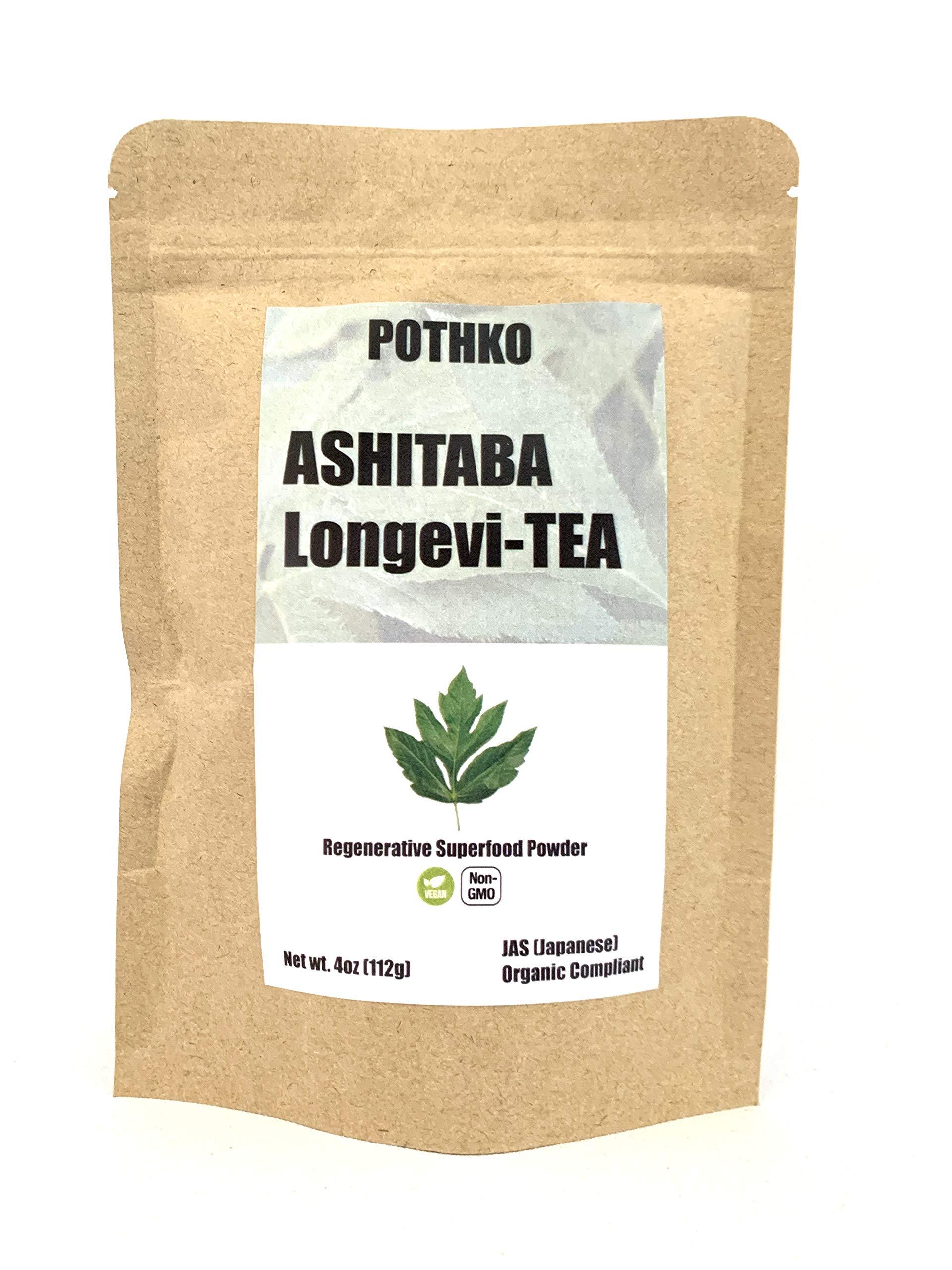 JAS Organic Ashitaba Longevi-tea Powder (4oz value bag) - Like Matcha without the Caffeine - Keto-Friendly - Mild Flavor, No Strange Taste - Longevity and Anti-aging - Antioxidants - Superfood Greens