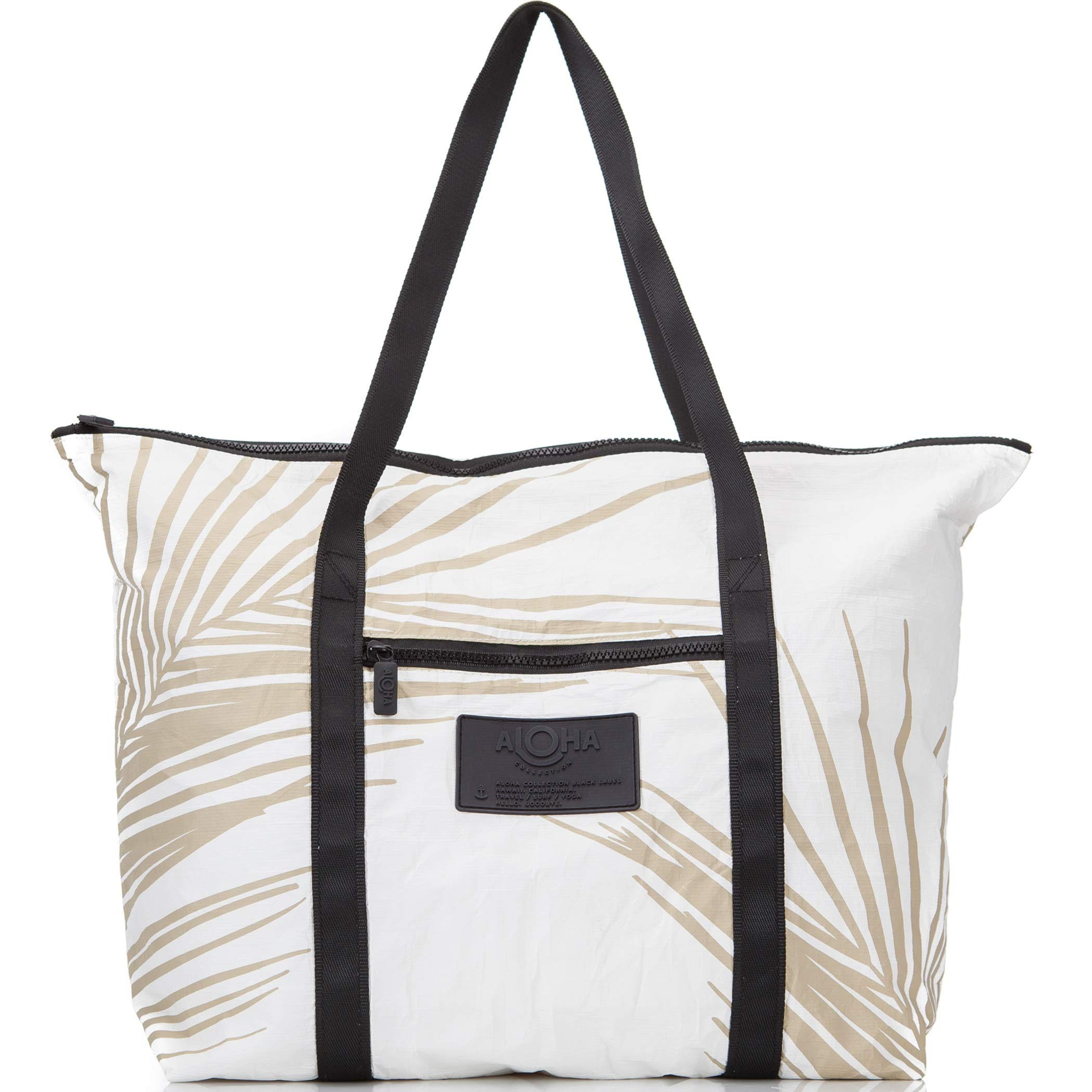 ALOHA Collection Fronds Zipper Tote in Sand