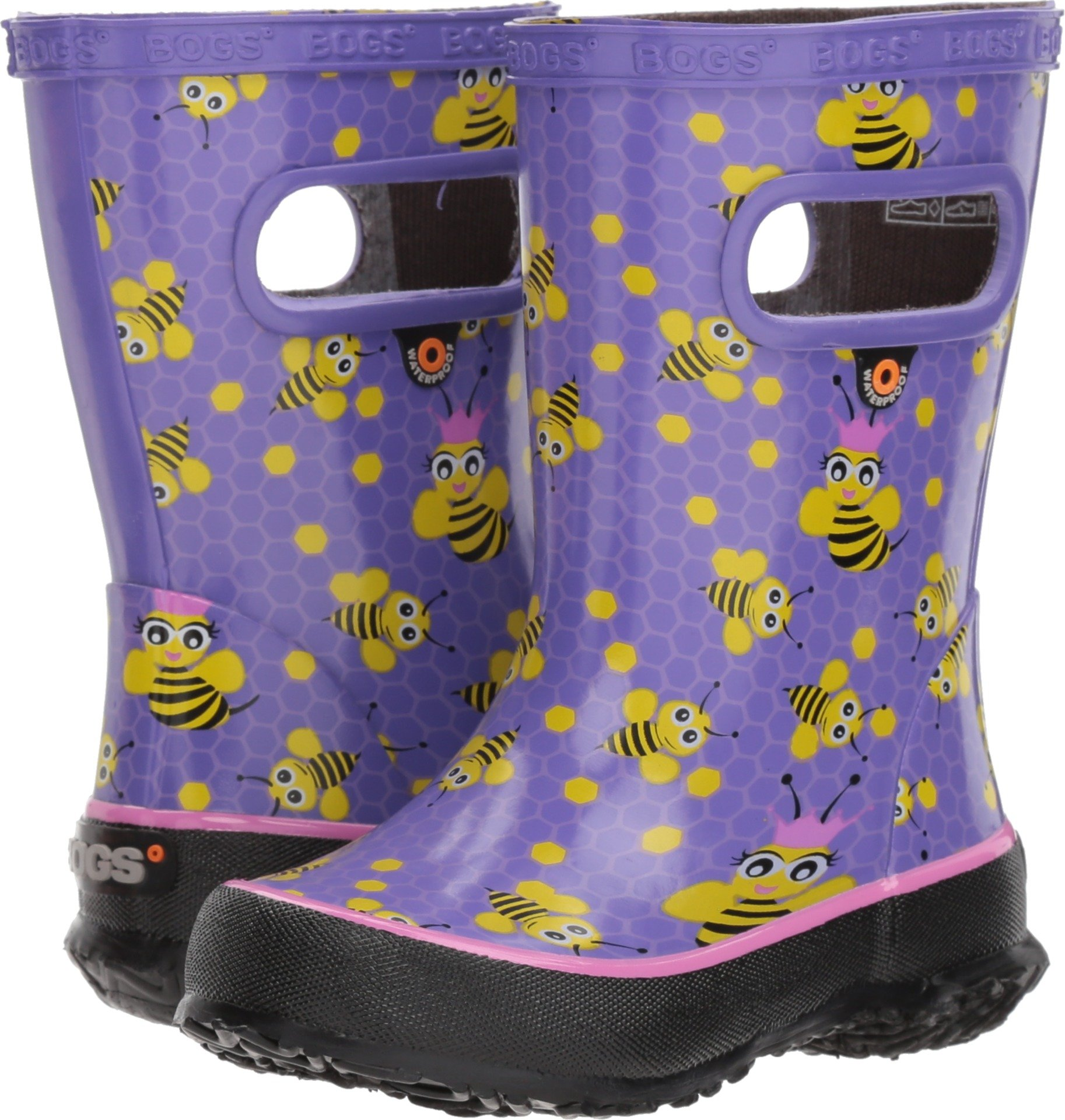 Bogs Skipper Kids Waterproof Rubber Rain Boot for Boys and Girls, Bees Print/Lavender/Multi, 13 M US Little Kid