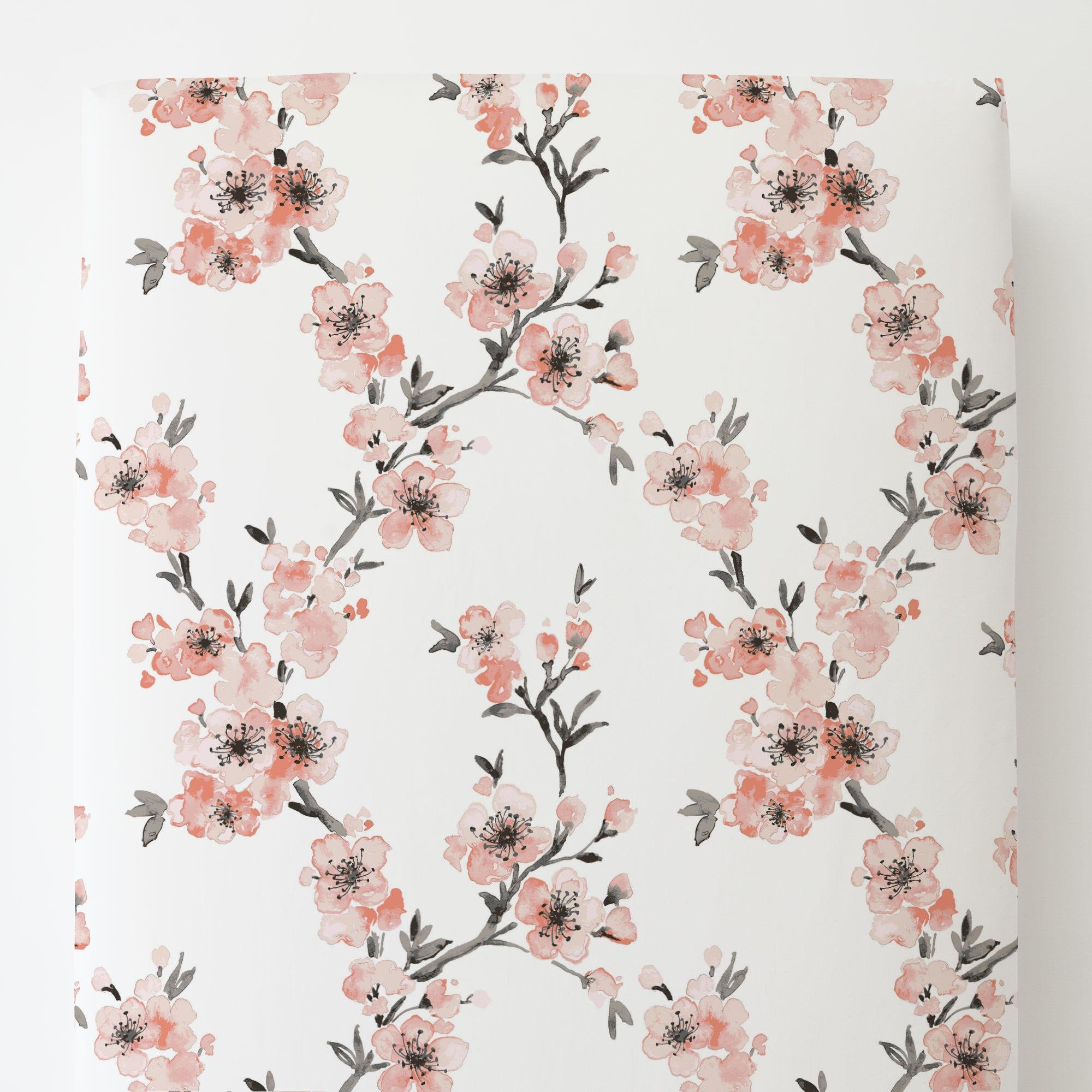 Carousel Designs Light Coral Cherry Blossom Toddler Bed Sheet Fitted