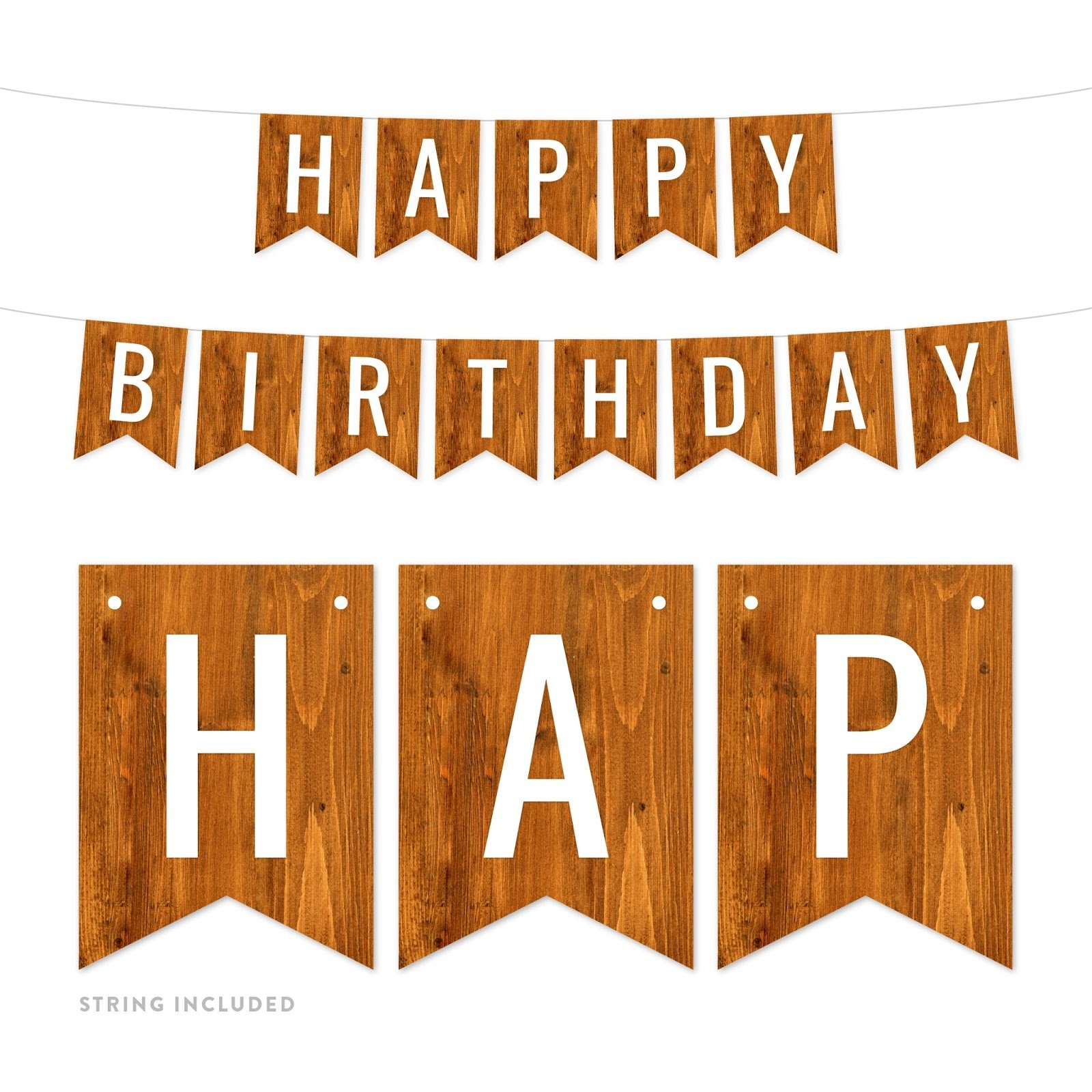 Andaz Press Rustic Barn Wood Birthday Party Banner Decorations, Happy Birthday, Approx 5-Feet, 1-Set, Wedding Bridal Shower Bachelorette Birthday Colored Themed Hanging Pennant Decor