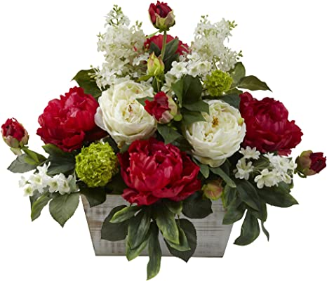 Nearly Natural 1320 Mixed Floral Arrangement With White Wash Planter Red White Home Kitchen