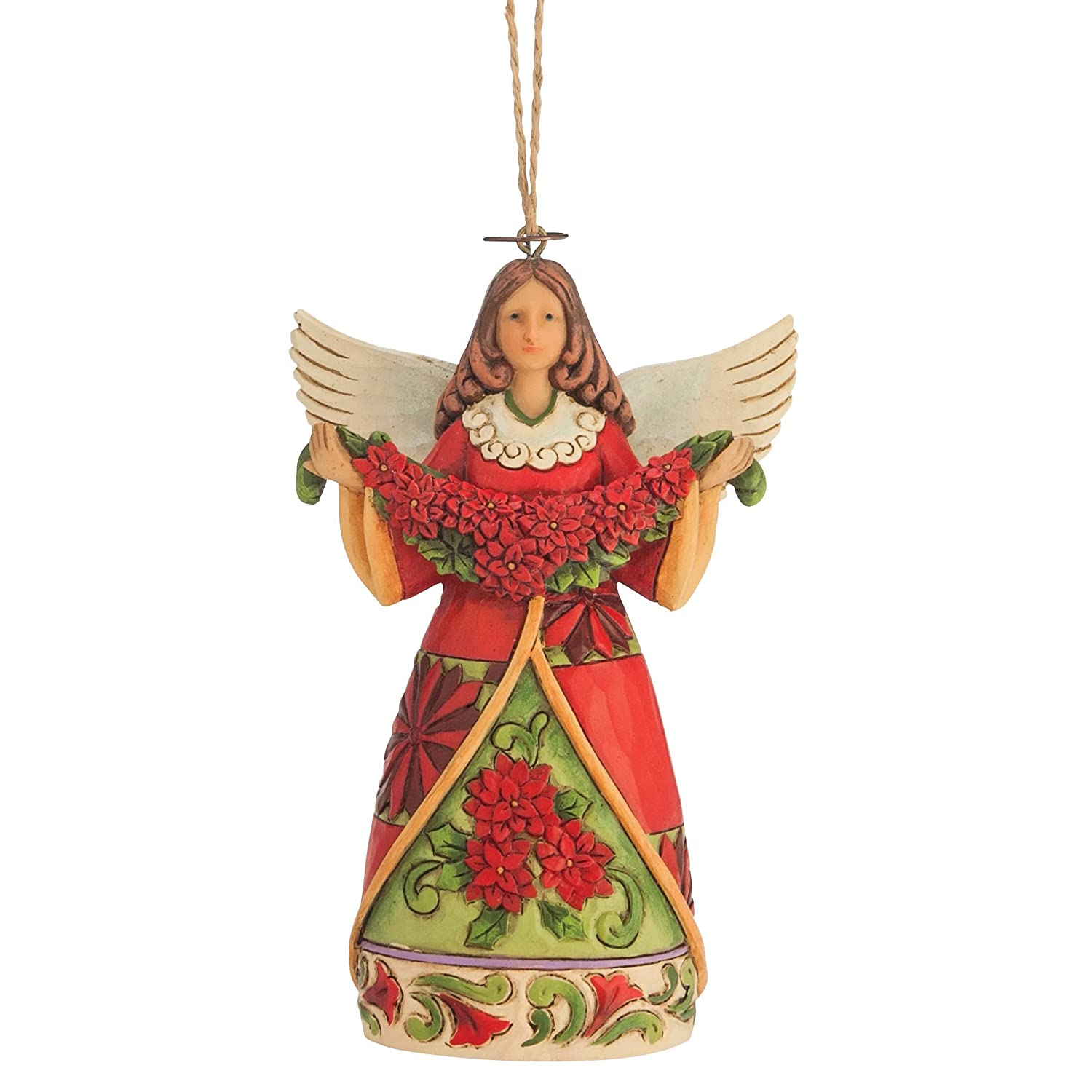 angel Xmas tree ornaments Jim Shore poinsettia flower design