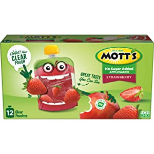 Mott's No Sugar Added Strawberry Applesauce, 3.2 Ounce Clear Pouch, 12 Count