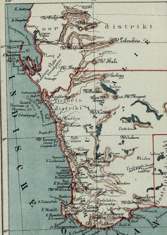 Map Of Australia 1880.Amazon Com Western Australia New Holland Old Antique 1882 Detailed