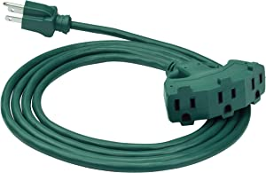 Clear Power 8 ft 3 Outlet Lawn & Garden Outdoor Extension Cord 16/3 SJTW, Green, Water & Weather Resistant, Flame Retardant, 3 Prong Grounded Plug, CP10210