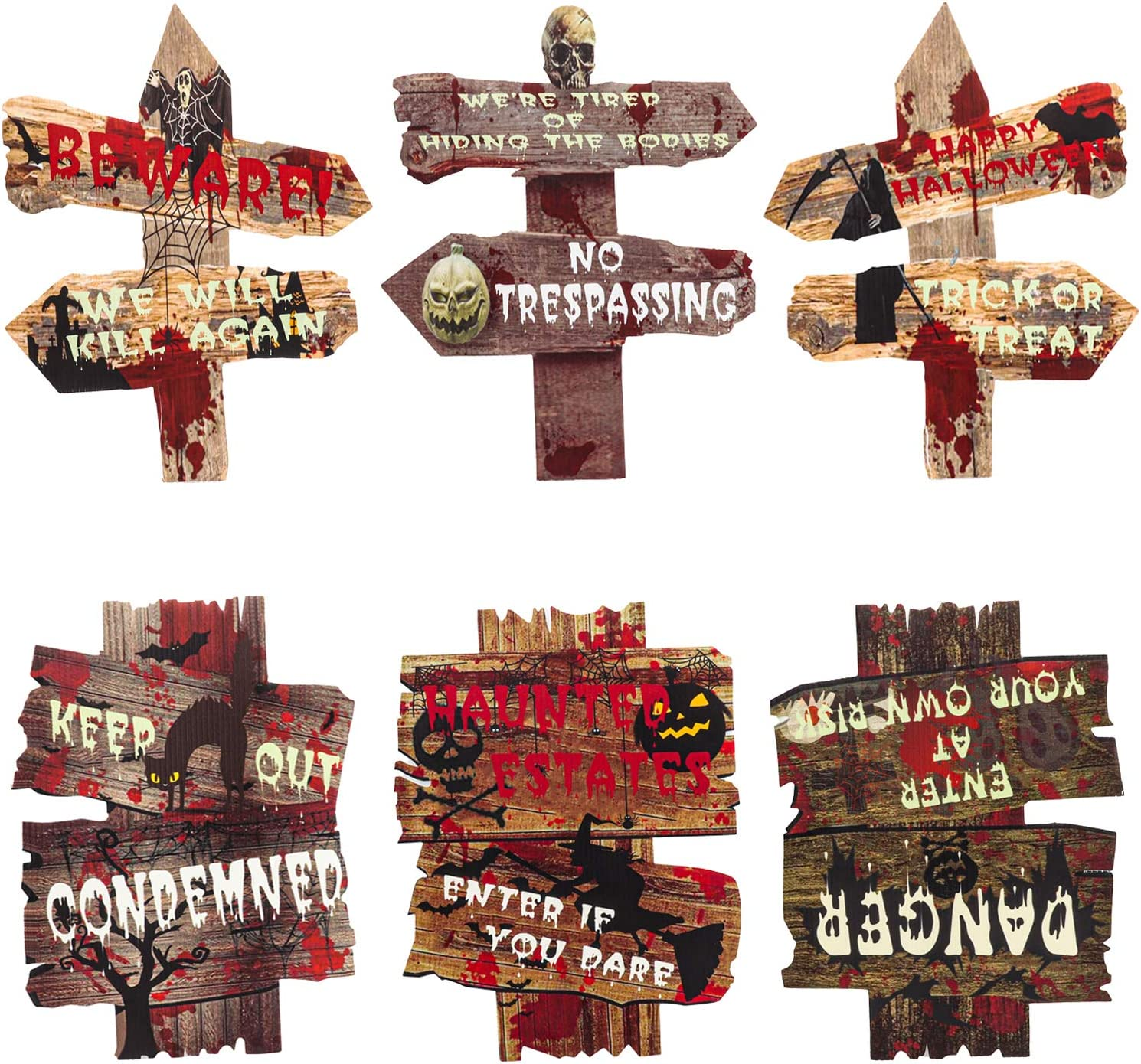 Halloween Outdoor Decorations Halloween Yard Signs Stakes Beware Props Outdoor Scary Zombie Vampire Graves Halloween Party Supplies Decor