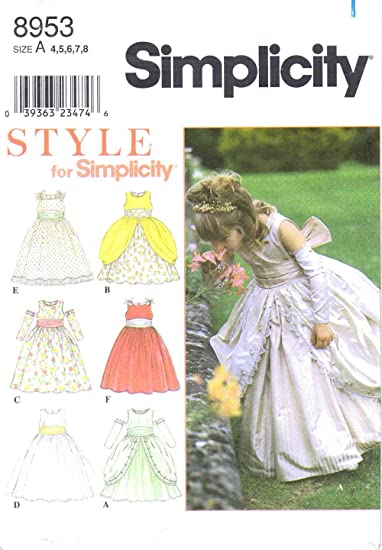 Amazon.com: Simplicity 8953 Sewing Pattern Girls Dress Medieval ...