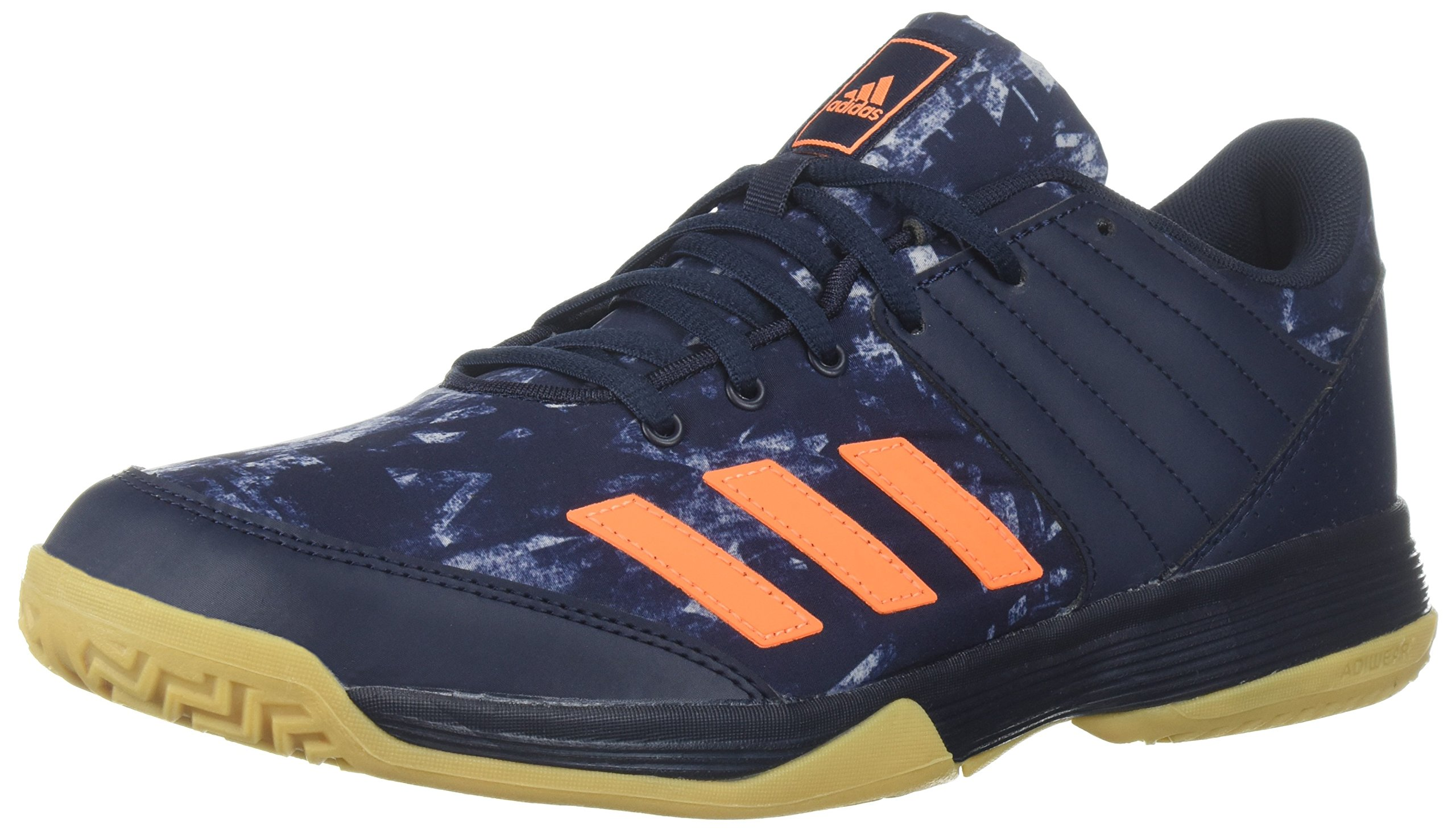 adidas Men's Ligra 5 Volleyball Shoe, Legend Ink/Hi-Res Orange/Grey Two, 14.5 M US