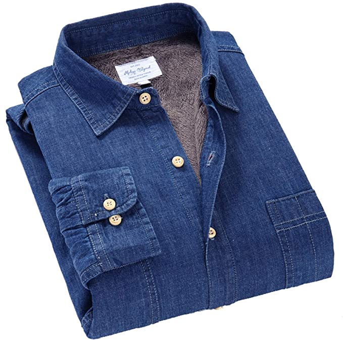 Flygo Mens Casual Fleece Lined Denim Shirt Jacket