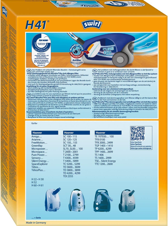 Swirl H 41 MicroPor Bolsas de papel filtrantes antiolores con filtro Hepa